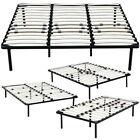 Wood Slats Metal Bed Frame Platform Bedroom Mattress Foundation 4 Size