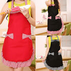 Women Kitchen Bowknot Aprons Household Cooking Cute Bib Retro Dress With Pockets