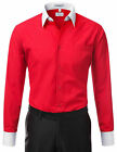Berlioni Italy White Collar & Cuffs Mens Two Tone Dress Shirt All Colors & Sizes