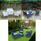 Outdoor Garden Patio Furniture Sets 4 Piece Sofa Wicker Coffee Table Chairs Set