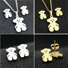 New Stainless steel Bear Pendant Necklace Earrings Woman Jewelry Set hollow out image