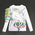 US Toddler Kids Girls Pattern Unicorn Long Sleeve Tops T-shirt Clothes 1-6T