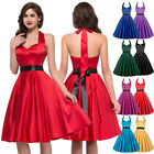 Womens Vintage 1950s Dress Halter Skater Solid Color Casual Prom Party Dress