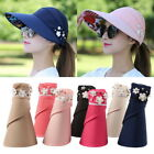 Women's Visor Hat Summer Sun Beach Foldable Roll Up Wide Brim Cap  UV Protection