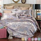 4Pcs Satin Silk Duvet Quilt Cover Pillow Case Bedding Set Twin Queen King Solid image