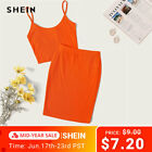 SHEIN Neon Orange Rib-Knit Crop Cami Top And Skinny Skirt Set Sexy Solid