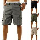 Mens Summer Elastic Waistband Shorts Casual Cargo Combat Solid Color Carpi Pants