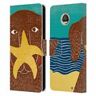STEPHEN HUNECK DOGS AT THE BEACH LEATHER BOOK WALLET CASE FOR MOTOROLA PHONES