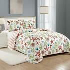 Twin Full Queen King Bed Blue Red Coral Starfish Coastal Seashell 3 pc Quilt Set