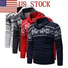 US Mens Casual Slim Fit Knitted Pullover Sweaters Christmas Print Warm Sweater