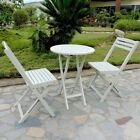 Outdoor Furniture Set Patio Deck Garden Bistro Wood Folding White Table Chairs