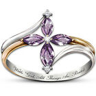 New Fashion Flower Women Jewelry Marquise Amethyst CZ Silver Ring Size 6 78 9 10 image
