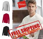 Hanes Mens Blank Cotton Long Sleeve T Shirt with a Pocket 5596 up to 3XL image