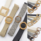 Women Straw Wax Rope Braided Belt Round Square Buckle Knitted Elastic Waist Belt