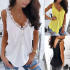 Women's Casual Lace V Neck Strap Tops Sleeveless T-Shirt Slim Vest Tank Summer