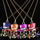 Uk Retro Silver Jewelry Necklace Pendant Skull Flower Crystal Sweater Chain Ace