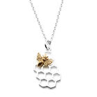 Sterling Silver Honeycomb Charm with Bronze Bee Necklace-6012 image