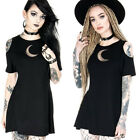 Women Hollow Out Punk Cold Shoulder Goth Mini Dress Short Sleeve Summer Skirts