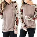Women's Long Sleeve Floral Printed Hoodies Loose Pocket Pullover Sweatshirt Tops