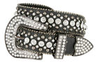 50158 RHINESTONE CRYSTAL WESTERN CROCODILE EMBOSSED LEATHER BELT 1-1/2