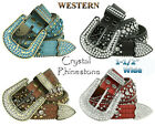 Kyпить 50158 RHINESTONE CRYSTAL WESTERN CROCODILE EMBOSSED LEATHER BELT 1-1/2