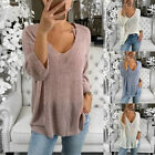 Women Ladies Long Sleeve Knitted T Shirt Plus Size Sweater Tops Casual Tshirt