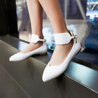 Womens Classic Ankle Strap Ballet Flats Pointed Toe Office Dress Shoes Ballerina
