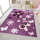 Modern Kids Rug Purple Pink Floral Contour Cut Pattern Mat Childrens Play Carpet