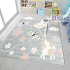 Kids Animal Rug Grey Beige Giraffe Pattern Children Play Carpet Baby Nursery Mat