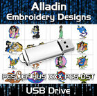 Disney Alladin PES JEF HUS XXX PCS DST Machine Embroidery Design files on USB