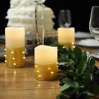 "4"" 6"" 8"" LED Pillar Candles String Lights Remote Control Wedding Centerpieces"