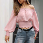 Women Long Puff Sleeve Off Shoulder Polka Dot Blouse Shirt Female Fashion Tops