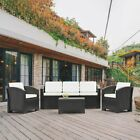 Outdoor Wicker Sofa Set Patio Rattan Sectional Furniture Garden Deck Couch Dark