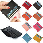 Mens Women's Real Leather Small Id Credit Card Wallet Holder Slim Pocket Case US image