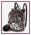 NWT JUSTICE Girls Cheetah Initial Flip Sequin MINI Backpack CHOOSE YOUR INITIAL