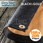 270GSM Tarpaulin Extra Heavy Duty Builders Waterproof Ground Sheet Cover Black