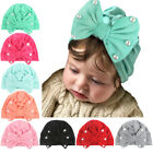 Baby Girls Cute Soft Cotton Bowknot Pearls Turban Cap Headband Elastic Headwrap