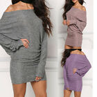 New Women Off Shoulder Bat Sleeve Bodycon Solid Mini Dress Casual Party Clubwear