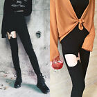 Black Hollow Out Gothic Punk Pants Women Elastic Streetwear High Waist Trousers