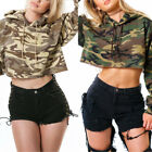 New Fashion Women Casual Hooded Long Sleeve Camouflage Thicken Short Hoodie Tops