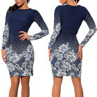 Gradient Floral Round Neck Dress Women Fashion Long Sleeve Bodycon Party Skirts