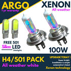 H4 Xenon Led White 100w All Weather 501 Side light Headlight 472 Bulbs Hid P43t