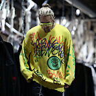 ByTheR Mens Graffiti Printing Vintage Loose Fit Knit Top Sweater Warm Baggy