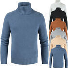Men Turtleneck Solid Color Winter Sweater Slim Casual Pullovers Jacket Warm Coat