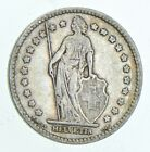 Roughly Size of Quarter - 1914 Switzerland 1 Franc - World Silver Coin *556