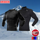 DRSKIN Men Cold Gear Compression Base Layer Fleece Top Shirts Thermal Mock Warm