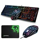 3in1 Gaming Keyboard Optical Mouse + Mousepad Sets K13 Wired LED Rainbow Backlit