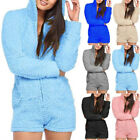 Women Faux Fur Solid Plush Hooded Jumpsuits Long Sleeve Warm Rompers Playsuits
