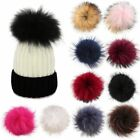 Women Faux Raccoon Fur Pom Poms Ball For Diy Knitting Beanie Hats Accessories-wi