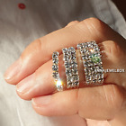 Silver Elastic Stretch Size Ring Cubic Zirconia Crystals 1 2 3 Row FREE Gift Bag